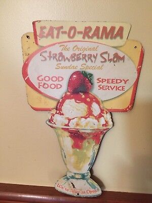 Vintage F W Woolworth's 5 & 10 cent store Strawberry Slam Sundae Sign