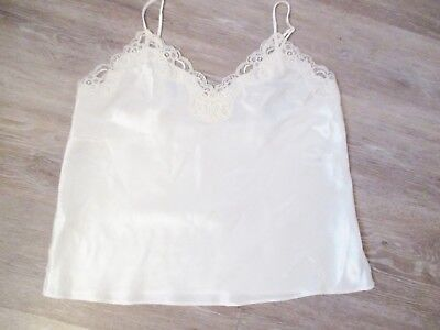 Womens Size 12 White Camisole Cami Top Ivory Lace Satiny Fabric Ladies Bsh