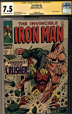 Iron Man #6 Cgc 7.5 Signature Series Signed By Stan Lee-The Crusher!