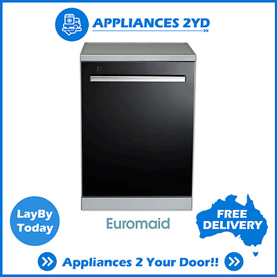 Euromaid BG14BM 60cm 600mm Freestanding Dishwasher 14 Place 8 Prog BLACK GLASS!
