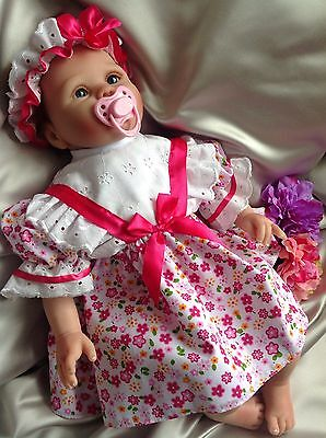 Floral Print Frilly Baby Dress Headbnd Knickers Embroidery Trim 0-3mth or Reborn
