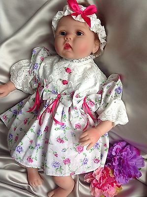 Floral Print Frilly Baby Dress Headband Knickers Embroidery Trim 0-3mth/reborn