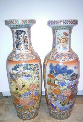 2 Vintage 20th C. Large Chinese Floor Vases Flower Bird Tree China FREE SHIPPING