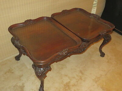 Mahogany Chippendale style coffee table with tray tops