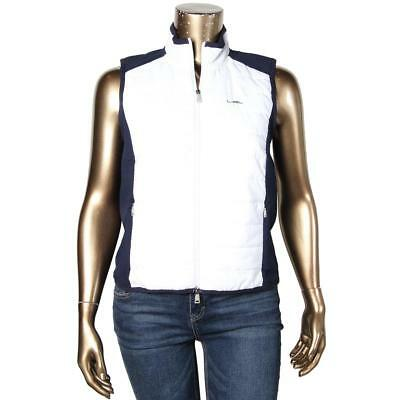 L-RL Lauren Active 4267 Womens White Quilted Colorblock Outerwear Vest L BHFO