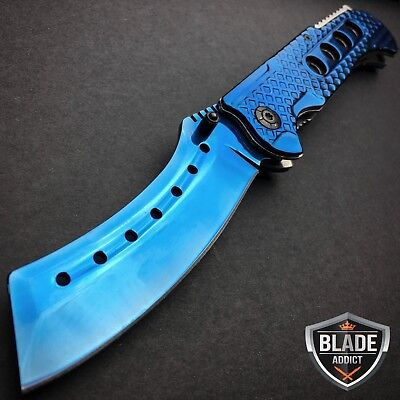 """9"""" TACTICAL Razor Spring Assisted Open Folding Pocket Knife BLUE CLEAVER New -S"""