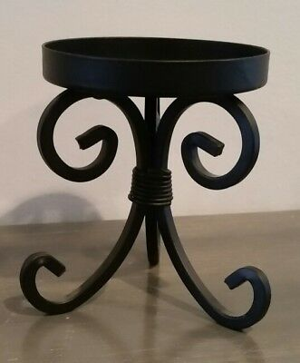 PartyLite Black Metal Candle Pedestal Holder Stand Round Home Decor Vintage Rare