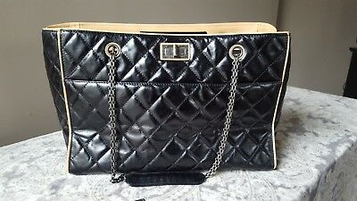 e5592cf621a9 Chanel Black 2.55 Reissue QUILTED Calfskin Leather Grand Shopping Tote Bag