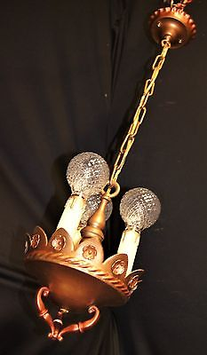 Antique Deco Era French Victorian  Metal Chandelier Ceiling Light Fixture 20's