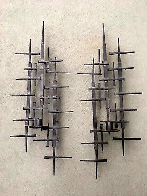 Pair of MID-CENTURY BRUTALIST Brass~Steel NAIL ART WALL SCONCE Candle Holder