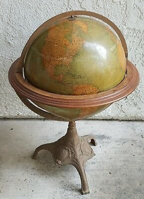 "sRare Antique Vtg 1925? 16"" Rand McNally Political World Globe By J. Paul Goode"