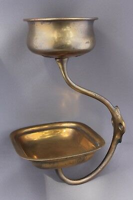 Antique Vintage Victorian Brass Bathroom Soap & Cup Holder Great Patina