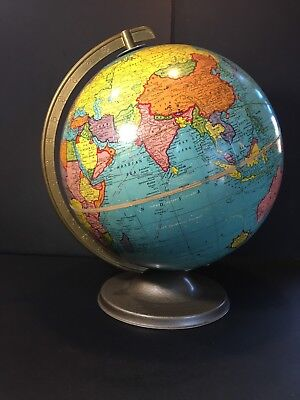 "Vintage 1950's Crams Imperial World Globe~ 12"" W/Metal Base~ Nice Condition"