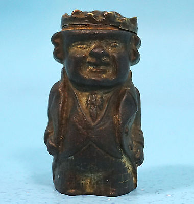 Antique German Cast Iron & Bronzed Match Holder King Prince Noble Man