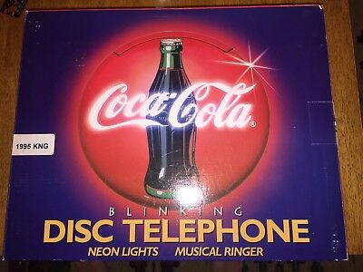 "1995 Coca-Cola Neon Red Blinking Light 12"" Round Disc Telephone"