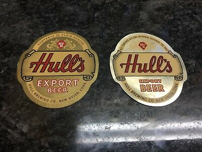 2 Diff Hull's Export Beer Bottle Labels New Haven, Ct. Excellent Cond.