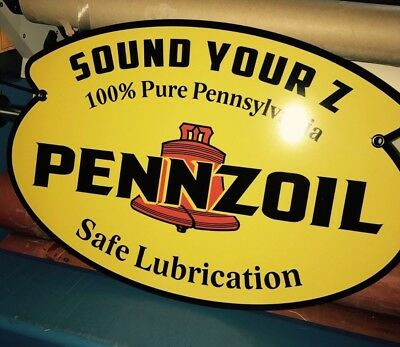 """Pennzoil Oil Sign Vintage Look Gas Oil Advertising Uv Protected 26"""" Texaco Gulf"""