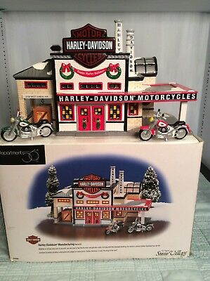 Dept 56 Harley Davidson Cycles Manufacturing Christmas Snow Village 54948