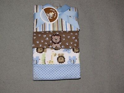 Child Of Mine Baby Boy Blue Brown Cotton Flannel Swaddle Receiving Blanket Set 4