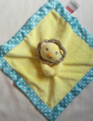 FISHER PRICE Lion Yellow Lovey Security Blanket Teal & White Satin Trim EUC