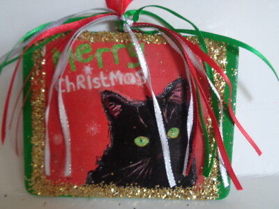 New*****black Cat Merry Christmas~Sparkle Glitter Christmas Wood Ornament*****