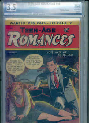 "TEEN-AGE ROMANCES 38 PGX 3.5 oww (Classic Matt Baker ""Suggestive"" cover / art !)"
