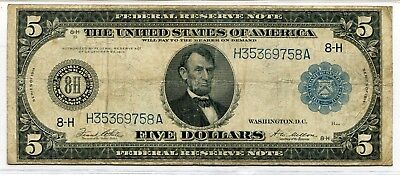 """1914 $5 """"ST. LOUIS"""" Large Size Federal Reserve Note - Fine Condition"""