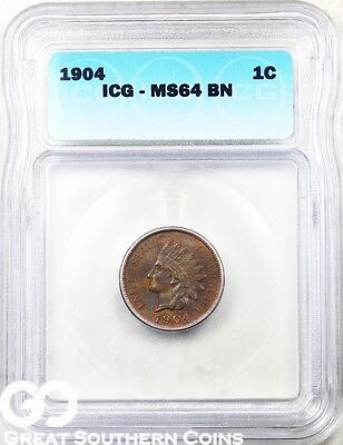 1904 ICG Lincoln Cent Wheat Penny ICG MS 64 BN