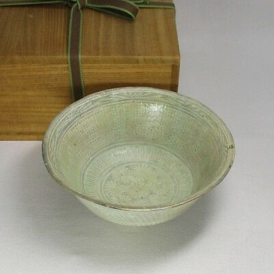 B973: Korean old Joseon Dynasty blue porcelain bowl of popular MISHIMA style