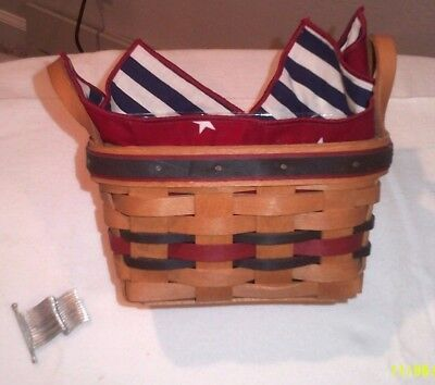 Longaberger 1993 All-Star Basket w/Plastic Protector & Fabric Liner + Tie On