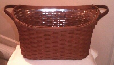 Longaberger Library Basket Woven in Deep Brown Stain w/Plastic Protector