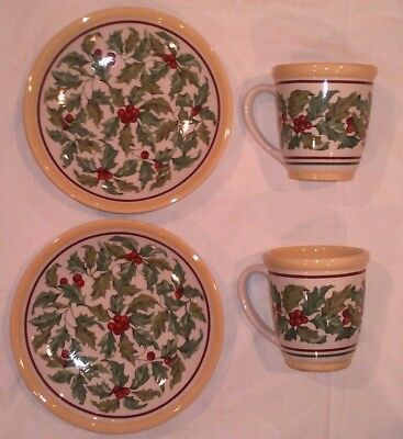 Longaberger American Holly Luncheon Plates & Mugs (Two Plates and Two Mugs)
