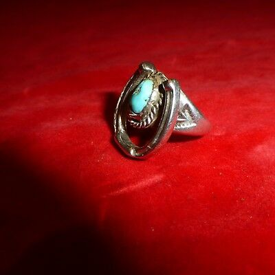 "Rare  Native American Navajo Indian 1 "" Turquoise Stone Silver Horseshoe Ring"