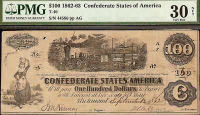 1862 $100 Dollar Confederate States Currency Civil War Train Note Money T-40 Pmg