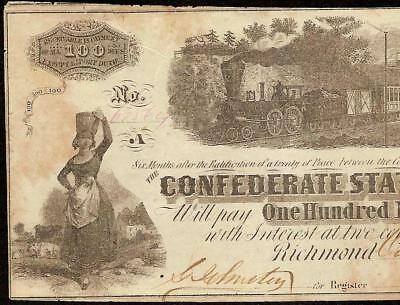 1862 $100 Dollar Confederate States Currency Civil War Note Paper Money T-40