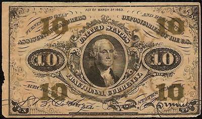 10 CENT FRACTIONAL CURRENCY OLD PAPER MONEY 1864-1869 3rd ISSUE WASHINGTON NOTE