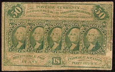 50 CENT FIRST ISSUE GREEN FRACTIONAL CURRENCY POSTAGE NOTE PAPER MONEY Fr 1312