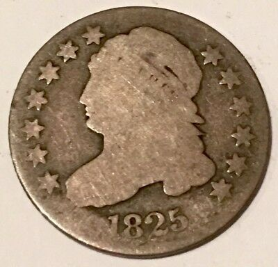 CAPPED BUST DIME - 1825 - ONLY 510,000 MINTED - 90% SILVER - See Pictures