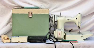 SINGER Featherweight 221K White Sewing Machine 1960's Hard Case Book Attachments