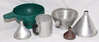 Lot of 6 Aluminum & Plastic Canning Funnels ~ Wide Mouth Foley Strainer Tin Man
