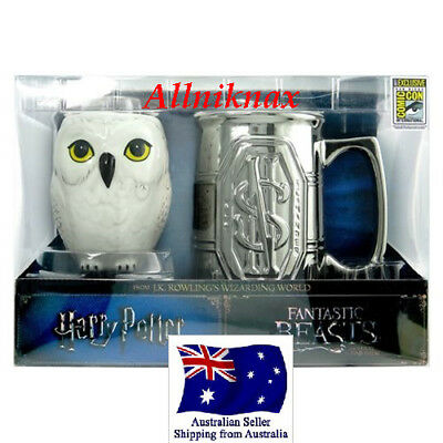 Harry potters Hedwig owl sculpted mug and a stein with Newt Scamander's logo
