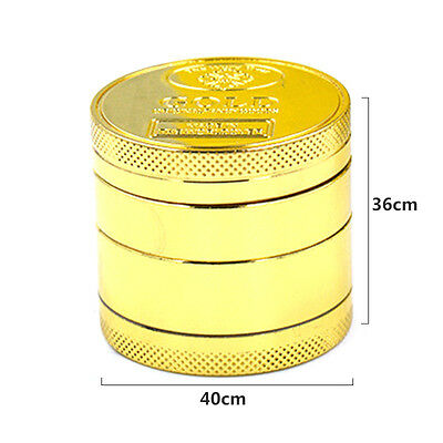 Herb Spice Grinder 4 Four layer Herbal Alloy Smoke Metal Chromium Crusher Gold