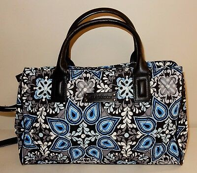 New Vera Bradley Signature Print Triple Compartment Satchel in Blue Sierra