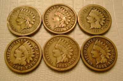1859 1860 1861 1862 1863 1864 Indian Head Cents C/N old US Coins No Reserve