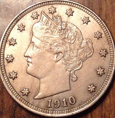 1910 Usa 5 Cents Liberty Best Of Circulated Condition !