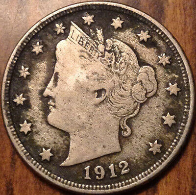1912-D Usa 5 Cents Liberty In Good Condition - Cleaned