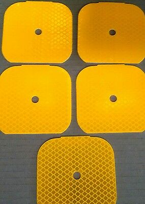 5 Reflectors  Yellow 3X3 Inch Driveway Markers Pre Drilled Aluminum