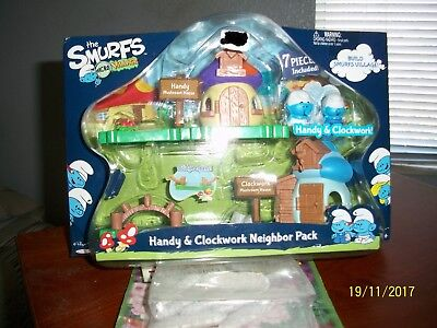 2013 Smurf Micro Village Handy & Clockwork 7 Piece Neighbor Pack-NIP