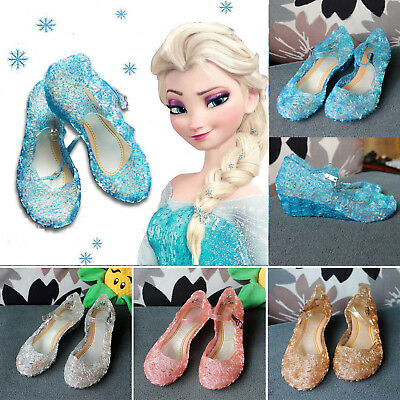 Frozen Princess Elsa Cosplay Dress Up Party Sandals Crystal Jelly Shoes Kid Girl