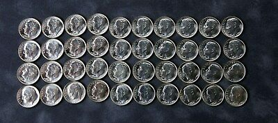 1960-P Roosevelt 90% Silver Dimes Partial Roll 40 coins BRILLIANT UNCIRCULATED